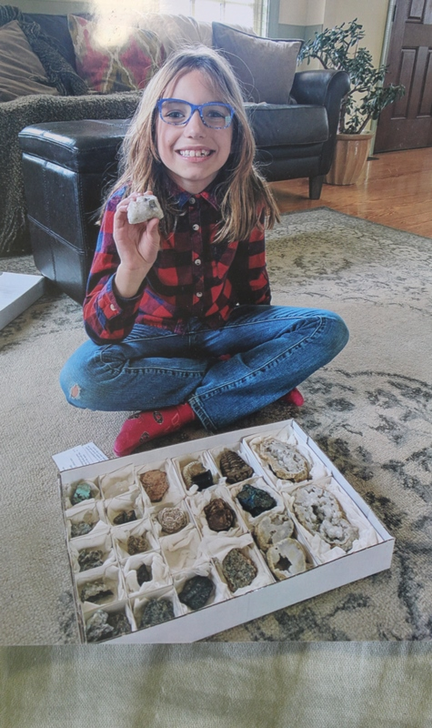 Elizabeth with mineral collection